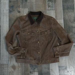 Ralph Lauren Brown Denim Corduroy Collar Jacket